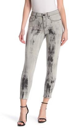 William Rast Printed High Rise Fray Hem Skinny Jeans