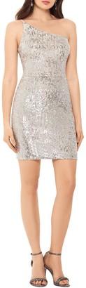 Xscape Evenings One Shoulder Sequin Minidress
