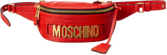 Moschino Logo Plaque Leather Belt Bag