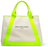 Balenciaga Cabas Leather-trimmed Canvas Tote - Cream