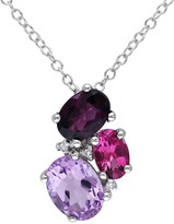 Sterling Silver Diamond & Multi Semi-Precious Stones Pendant Necklace