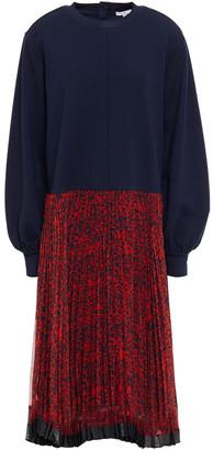 Clu French Terry-paneled Pleated Printed Georgette Midi Dress