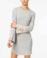 American Rag Juniors' Cotton Crocheted-Trim Sweater Dress, Created for Macy's