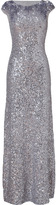 Jenny Packham Light Slate Allover Sequined Gown