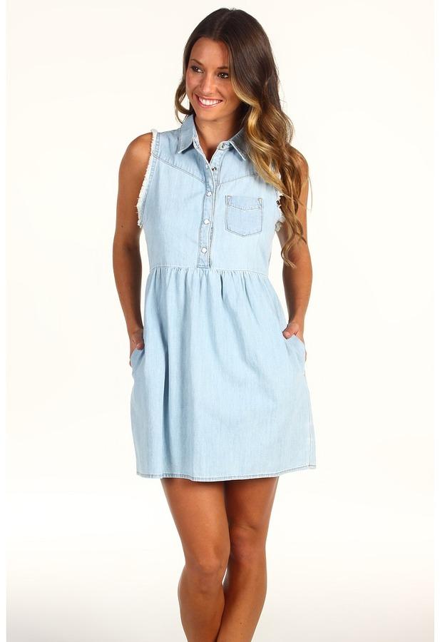 Joe's Jeans Babydoll Dress in Daria (Daria Light Blue) - Apparel