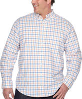 Izod Ls Oxford Tattersal Woven Long Sleeve Plaid Button-Front Shirt-Big and Tall