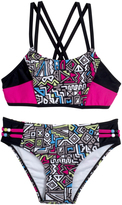 Big Chill Pink & Black Geometric Bikini - Girls