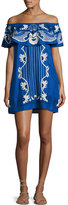 Red Carter Adelaide Embroidered Off-the-Shoulder Mini Dress