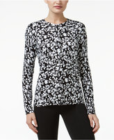 Karen Scott Petite Floral-Print Cardigan, Only at Macy's