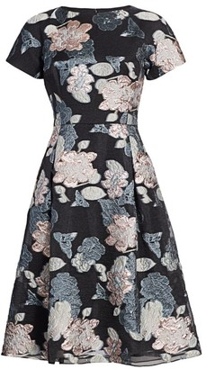 Teri Jon by Rickie Freeman Floral Jacquard Metallic Organza A-Line Dress