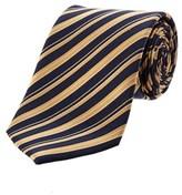 Saint Laurent Navy & Gold Diagonal Stripe Silk Tie.