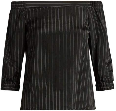 Tibi Striped Off The Shoulder Satin Top - Womens - Black Multi