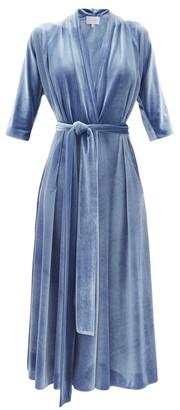 Luisa Beccaria Tie-waist Velvet Midi Wrap Dress - Mid Blue