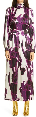 Dries Van Noten Floral Long Sleeve Silk Dress