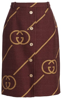 Gucci GG Diagonal Button Front Wool Pencil Skirt