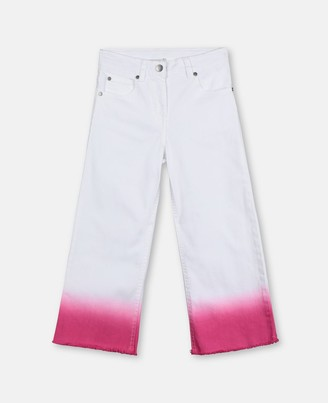 Stella McCartney pink bleached denim flare trousers
