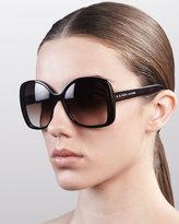 Oversized Oval Sunglasses, Black/Dark Tortoise