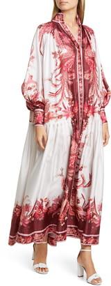 Zimmermann Floral Silk Long Balloon Sleeve Maxi Dress