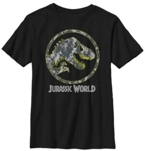 Fifth Sun Jurassic World Big Boy's Camouflage Yellow Outline Fossil Coin Logo Short Sleeve T-Shirt