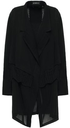 Ann Demeulemeester Layered Pleated Wool-blend Crepe And Gauze Jacket