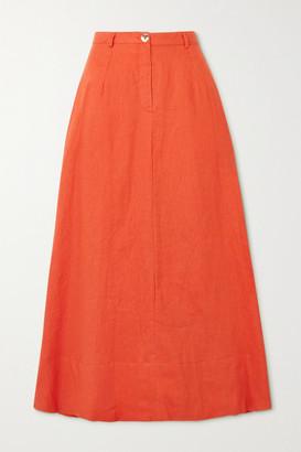 STAUD Cybele Linen Midi Skirt - Orange