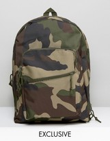 Reclaimed Vintage Inspired Camo Backpack In Green