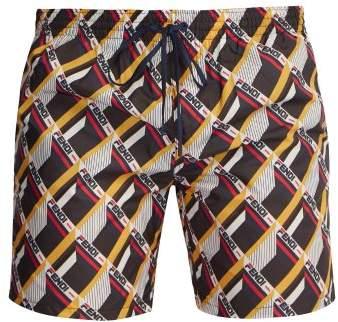 Fendi Mania Logo Print Swim Shorts - Mens - Multi