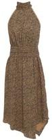 Joie Asymmetric Gathered Printed Crepe De Chine Dress