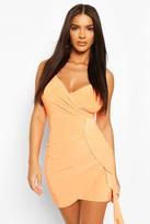 boohoo Neon Wrap Front Strappy Mini Dress