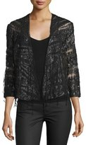 Haute Hippie Semisheer Embellished Jacket, Black