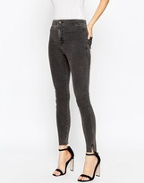 Asos Rivington Ankle Grazer Jeggings In Washed Black With Raw Hem