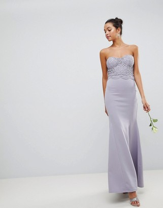 Club L London Crochet Scalloped Bandeau Fishtail Maxi Dress-Grey