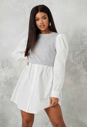 Missguided Gray Sweater Insert Puff Sleeve Shirt Dress