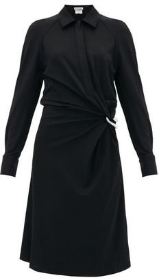 Bottega Veneta Point-collar Gathered Jersey Shirt Dress - Womens - Black