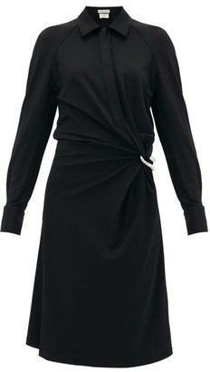 Bottega Veneta Point-collar Gathered Jersey Shirtdress - Womens - Black