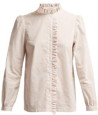 A.P.C. Ruffle Detailed Striped Cotton Blouse - Womens - Pink Multi