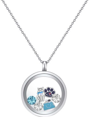 Swarovski Mestige Women's Necklaces SILVER - Cat Lover Pendant Necklace Set With Crystals