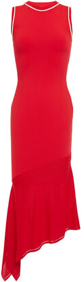 Victoria Beckham Asymmetric Fluted Stretch-knit Midi Dress