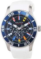 Nautica Men's A12629G NST 07 Flags Multifunction White Resin Strap Watch