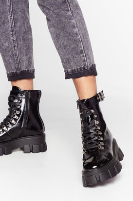 Nasty Gal Womens Walk It Like I Talk It Patent Cleated Boots - black - 3