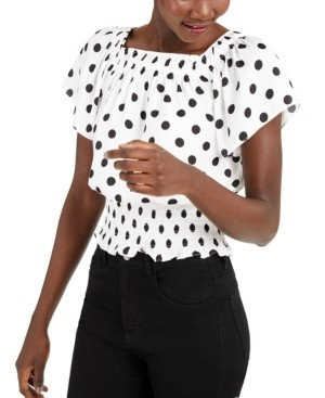 INC International Concepts Inc Petite Polka-Dot Flutter-Sleeve Top, Created for Macy's
