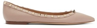 Valentino Rockstud Point-toe Leather Ballet Flats - Nude