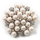 Avalaya Snow Synthetic Pearl Corsage Brooch