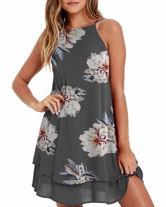 Style Dome Women Summer Dress Sleeveless Mini Dresses Floral Printed Cami Dress Spaghetti Strap Party Dresses Loose Summer Dresess Black-A90387 XXL