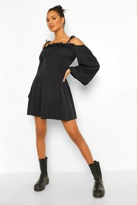 boohoo Tie Detail Cold Shoulder Skater Dress