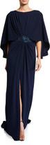 Tadashi Shoji 3/4-Sleeve Crepe Gown with Embellishment