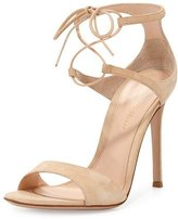Gianvito Rossi Suede Double Ankle-Wrap Sandal, Nude