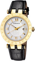 Versace 42mm Men's V-Race Watch w/ Leather Strap, Golden
