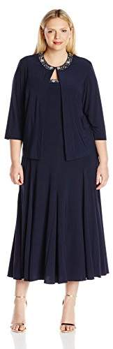 Alex Evenings Women's Plus Size T-Length Jacket Dress With Sequin Beaded Trim