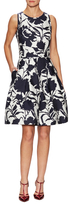 Oscar de la Renta Floral Dual Pocket Fit And Flare Dress